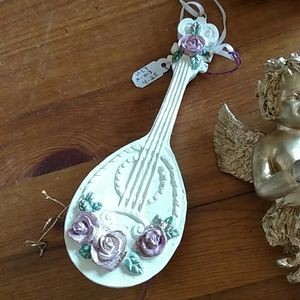 None Holiday - 6 Ornaments: 2 Cheribs, Flower, 2 Lutes, Violin